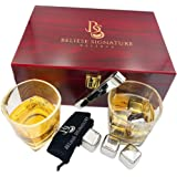 Premium stainless steel whiskey stone gift set for chilling and enjoying whisky