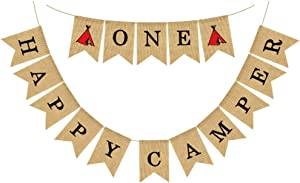 ONE Happy Camper Banner Creative Swallowtail Pull Flags Layout Decor Photo Props for Travel Party