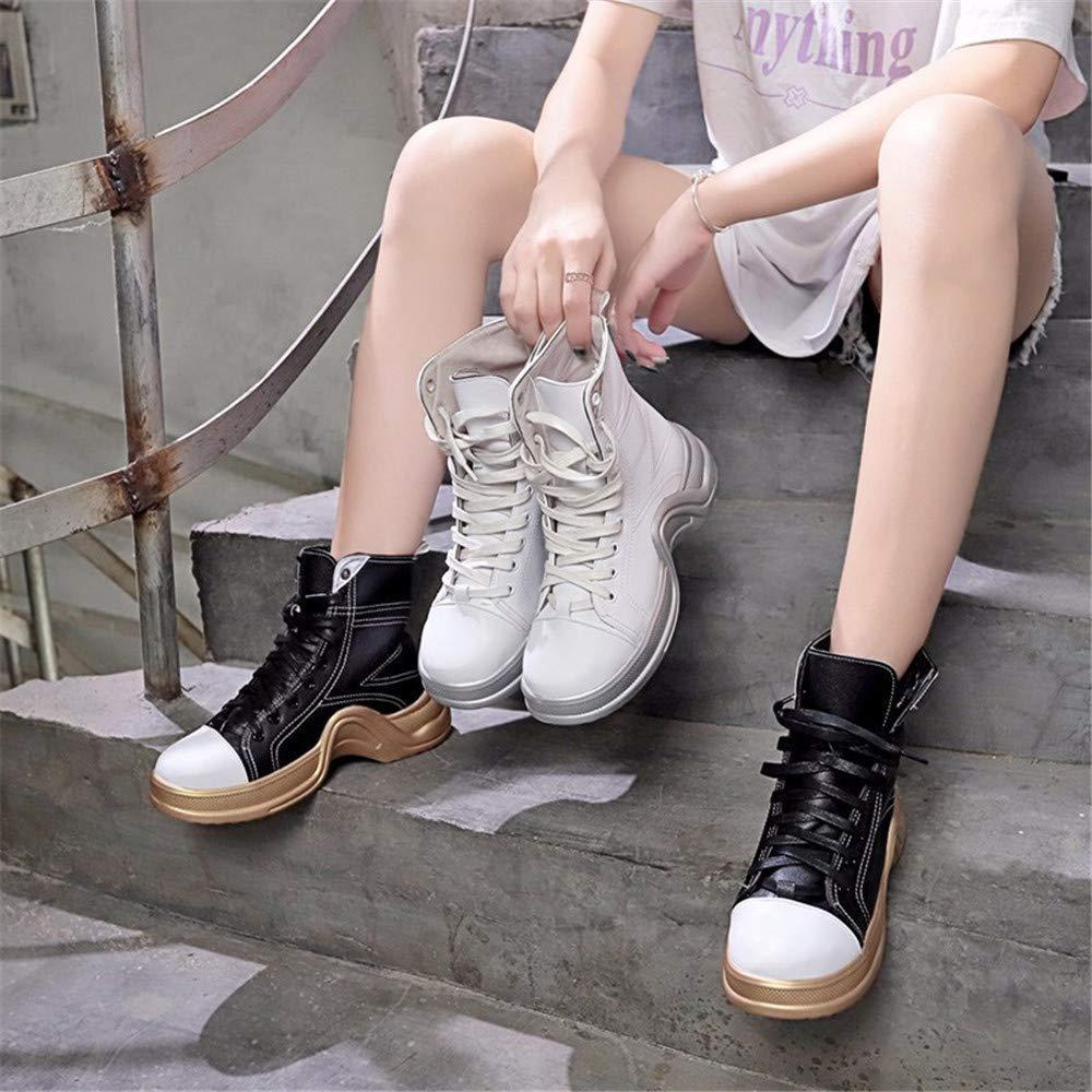 ZHRUI Los Tacones Altos Aumentan Aumentan Aumentan Las Botas Martin Zapatos Altos Zapatos Deportivos Salvajes Mujeres (Color : 38, tamaño : Negro) dd9bfb