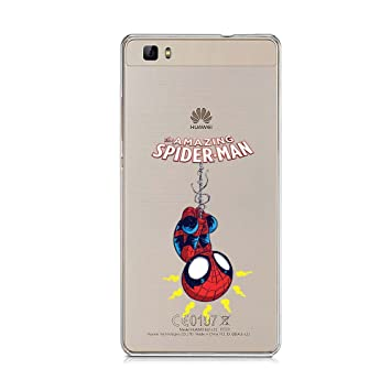 38cbad9507e P8Lite TPU Funda Gel Transparente Carcasa Case Bumper de Impactos y Anti-Arañazos  Espalda Cover, Marvel DC Hero Colección Collection, Spider Man, ...