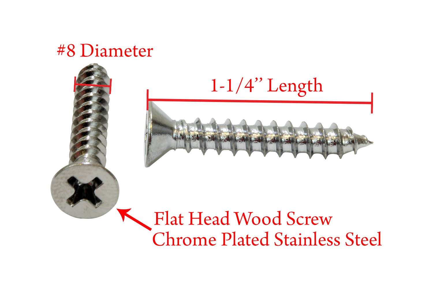 18-8 Stainless Steel Screw by Bolt Dropper 304 100 pc #6 X 3//4 Chrome Coated Stainless Flat Head Phillips Wood Screw,