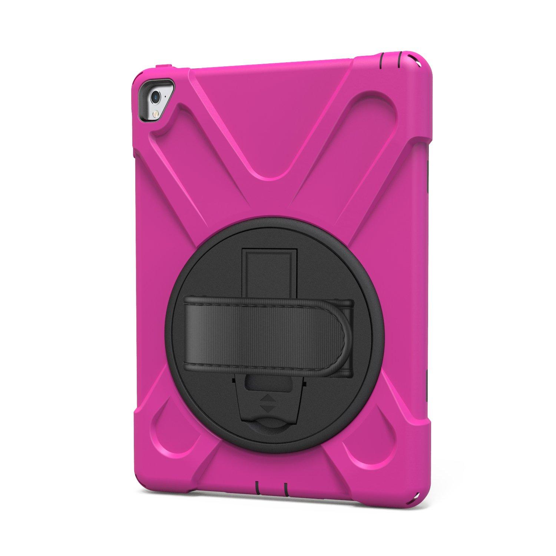 iPad Pro 9.7 / Air 3ケースキックスタンドwith Heavy Duty耐衝撃Armorハードカバー手ストラップwith 3レイヤ全面保護360度回転可能シェルfor Apple iPad Pro 9.7 / Air 3 ピンク B073HC4WFK ピンク ピンク