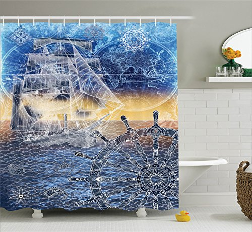 Ambesonne Home Decor Collection, Nautical Print with Mandala Patterns of Explorer Ship Map of the World Steering Wheel Sails Ocean, Polyester Fabric Bathroom Shower Curtain Set with Hooks, Blue