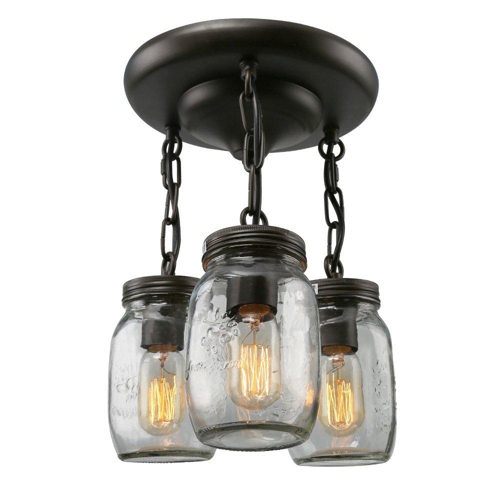 LNC A02981 Glass Pendant 3 Mason Jar Semi Flush Mount Close to Ceiling Light fixtures, Brown