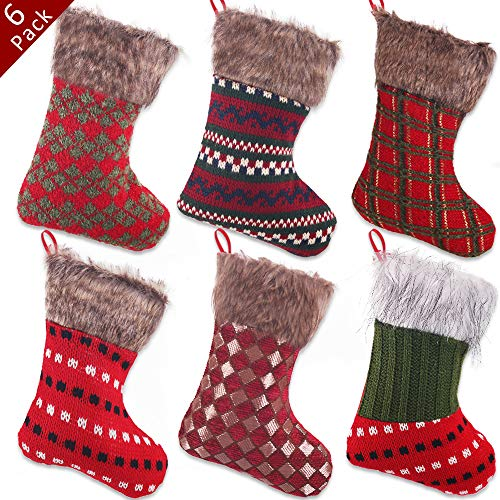 PartyBus 8 Inch Mini Christmas Stockings 6 Pack, Rustic Knitted Yarn Felt Plush Faux Fur Xmas Tree Decorations, Gift Card Holders Cash Bags Holiday Treats for Family Coworkers Neighbors Kids Dogs Cats