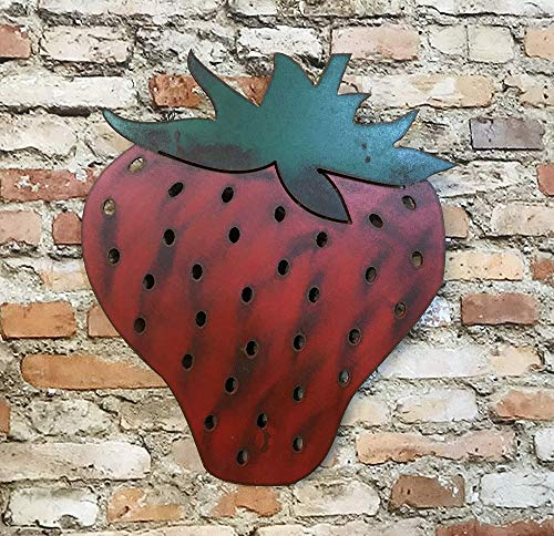 "Strawberry - Metal Wall Art Home Decor - Handmade - Choose 8"", 12"" or 17"" tall, Choose from Three different Fruits - Apple, Strawberry, or Pear - Kitchen Decor"