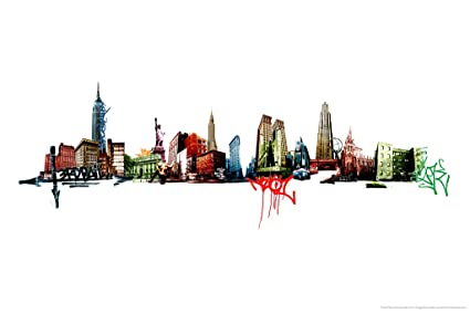 amazon com new york graffiti skyline art print poster 12x18 inch