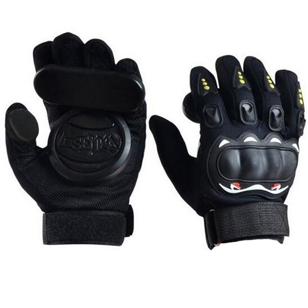 AURIZE Slide Glove,Standard Longboard Gloves,Adult Skateboard Protective Gloves with Three Slide Puck Set (Black) by AURIZE