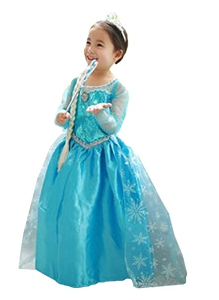 42a40a530 ELSA & ANNA® Princesa Disfraz Traje Parte Las Niñas Vestido (Girls Princess  Fancy Dress