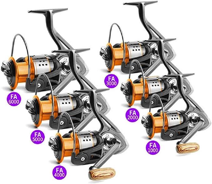 1 Verh/ältnis Spinning Angelrolle Salzwasser S/ü/ßwasserfischen Metalldraht Rollen 1000-6000 Serie Danping Orange Schwarz Angelrollen 4.7