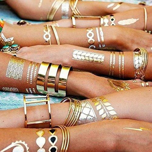 Bling Your Body Mit Flash Metallic Tattoos Gold Schwarz Silber Schmuck Tattoo Für Körper Finger Arme