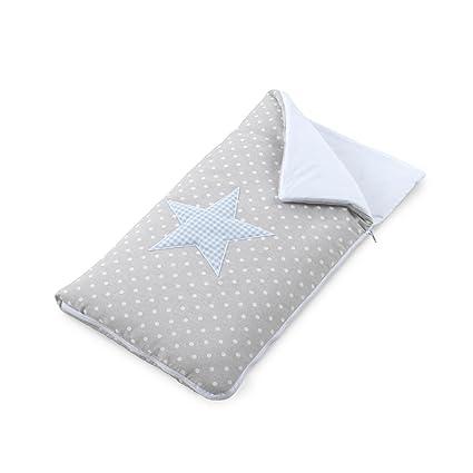 Funny Baby Codream - Saco-colcha minicuna colecho, diseño topos estrella, color azul