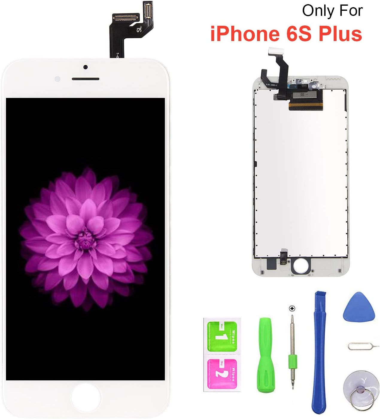 FFtopu Compatible with iPhone 6s Plus Screen Replacement White, FFtopu LCD Display 3D Touch Screen Digitizer Replacement Frame Cell Assembly Set with Free Repair Tools(5.5