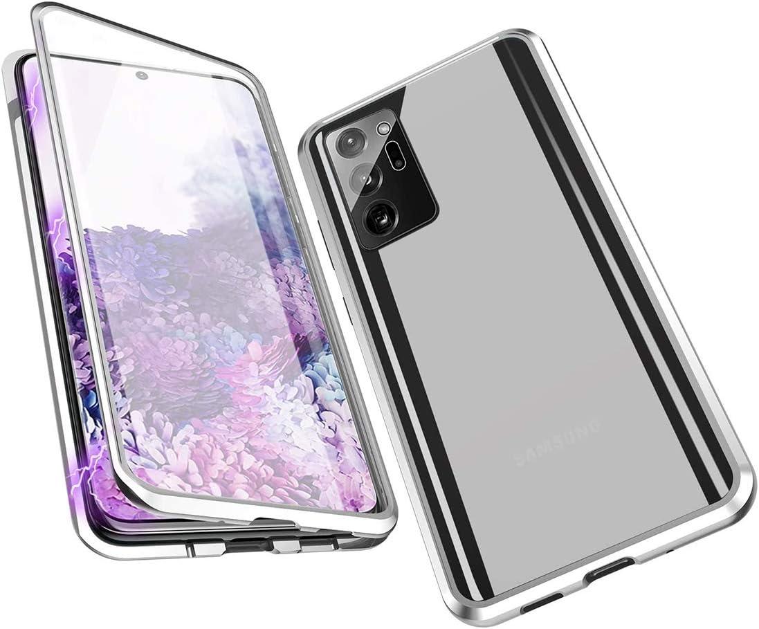 Carcasa para Samsung Galaxy Note 20 Ultra 5G con carcasa de absorción magnética, marco de metal de 360° con cristal templado transparente de doble cara, diseño de una sola pieza, color plateado