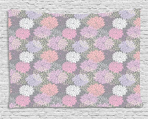 Ambesonne Pink and Grey Tapestry, Blossom Bouquet Botanical Foliage Shabby Chic Essence Chrysanthemum, Wall Hanging for Bedroom Living Room Dorm, 60 W X 40 L inches, Blush Lilac Grey ()