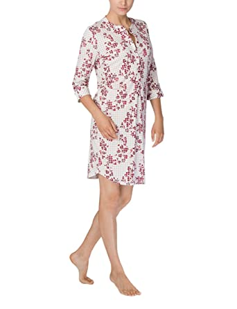 7710262734b6 Calida Cotton Knit Button Front 2/3 Sleeve Sleep Shirt - Ruby Check at  Amazon Women's Clothing store: