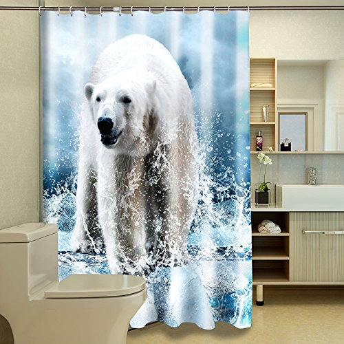 Alicemall White Bathroom Shower Curtain Fluffy Vivid 3D Polar Bear Polyester Waterproof Fabric Shower Curtain (71