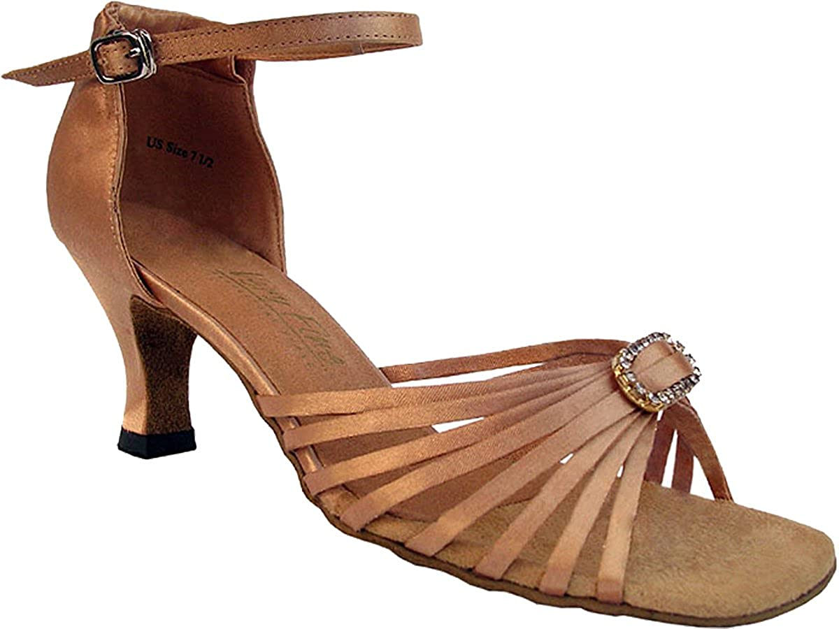 Brown Satin with Stone 6.5 M US Heel 2.5 Inch Very Fine Womens Salsa Ballroom Tango Dance Shoes Style 1671B Bundle with Plastic Dance Shoe Heel Protectors
