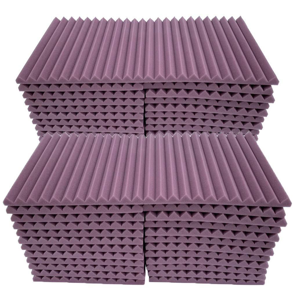 Soundproof Foam, 48Pcs Acoustic Panels Studio Foam Wedges Fireproof Soundproof Padding Wall Panels for Studio and KTV etc (Purple)