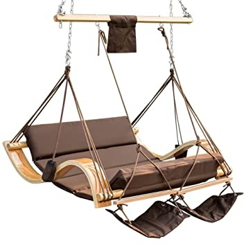 Nice Lazy Daze Hammocks Deluxe Oversized Double Hanging Rope Chair Cotton Padded  Swing Chair Wood Arc Hammock