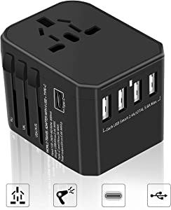 International Travel Adapter Yarrashop All in One Universal Power Adapter with 4 USB + 1 Type-C Charging Ports Wall Charger Plug for European US, EU, UK, AU 150+ Countries, Black