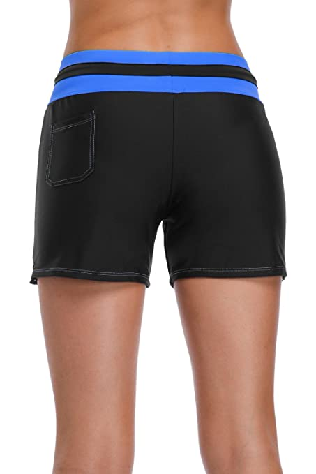 bcd9de2201 Sociala High Waisted Swim Shorts for Women Tummy Control Swimsuit Bottoms  at Amazon Women's Clothing store: