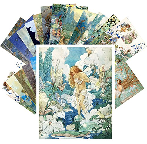 Postcard Set 24pcs Fairy and Flowers Small People by Harold Gaze