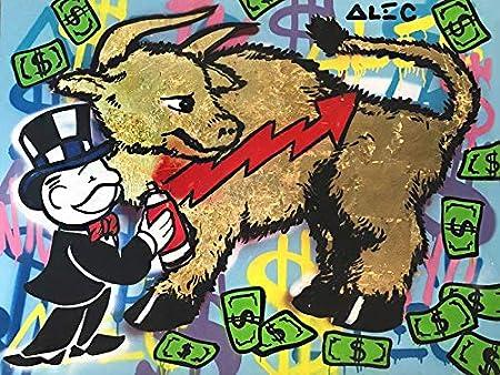 xiaopingzi Alec Monopoly Graffiti Art - Pintura al óleo Sobre Lienzo, diseño de Arte Urbano, Color Dorado, 61 x 76 cm, sin Marco: Amazon.es: Hogar