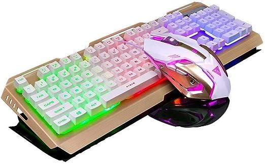 Teclado y Ratón para Juegos,SUAVER Wired LED retroiluminado Multimedia USB Teclado Gaming Metal Impermeable Teclado,4DPI Ratón óptico 7 colores ...