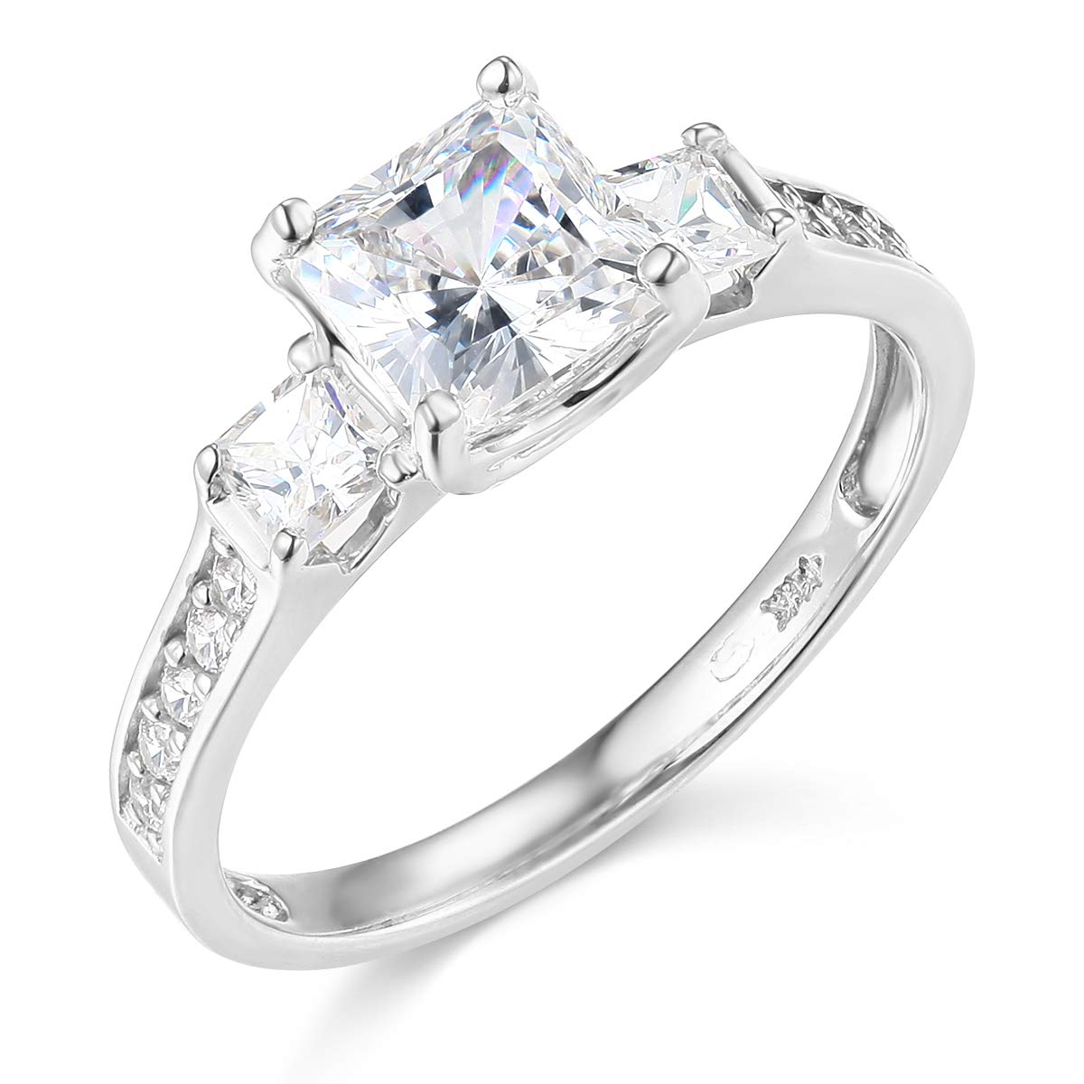 Wellingsale Ladies 925 Sterling Silver Polished Rhodium CZ Cubic Zirconia Wedding Engagement Ring