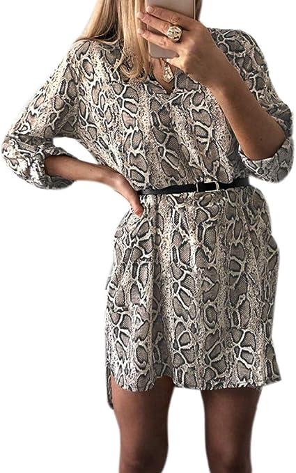 ecmqs vestido de mujer – primavera retrousser mango largo (vrac Robe – Camisa de cuello en V leopardo de piel de serpiente Impreso Blusa asimétrica ...