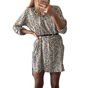 ecmqs vestido de mujer – primavera retrousser mango largo (vrac Robe – Camisa de cuello