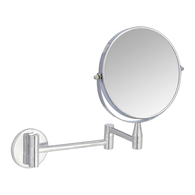 AmazonBasics Wall-Mounted Vanity Mirror – 1X 5X Magnification, Chrome