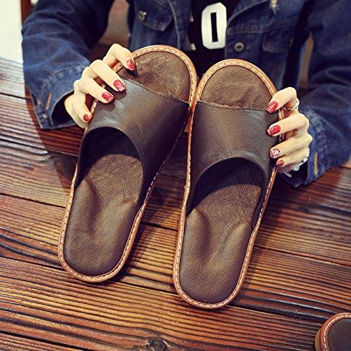 pavimento aria silenziosa Pantofole scuro fresca fankou uomo estate pantofole 35 36 legno in casa donna interno marrone casa coppia FAFYw71q