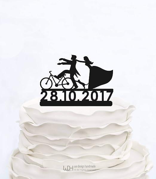 Decoración personalizada para tarta con fecha de novia y novio en ...