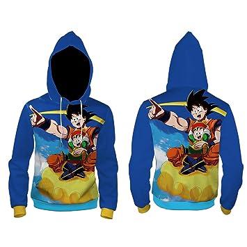 LHKAVE Hombres Sudadera con Capucha Impresión 3D Dragon Ball Super Saiyan Goku Anime Mujeres con Capucha