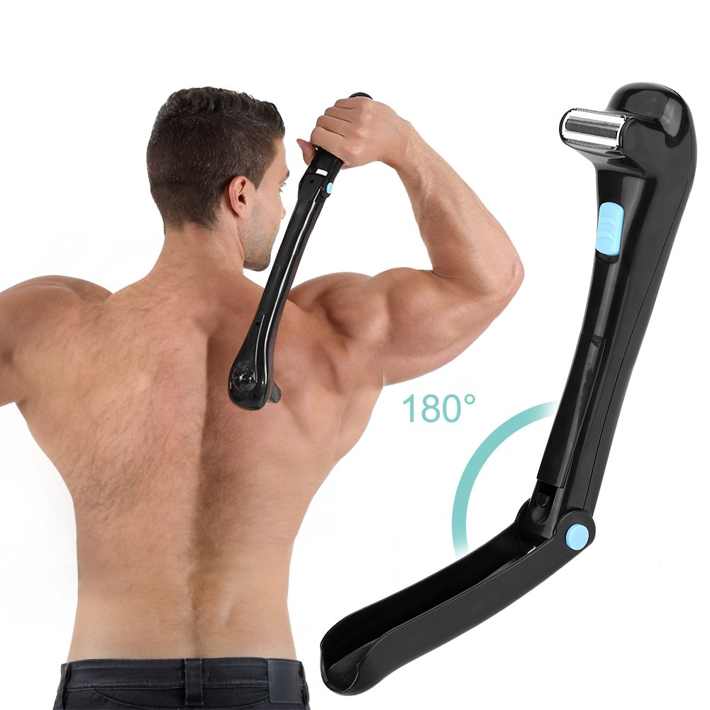 Electric back shaver, Do-It-Yourself, wireless, foldable, body hair trimmer. Brino
