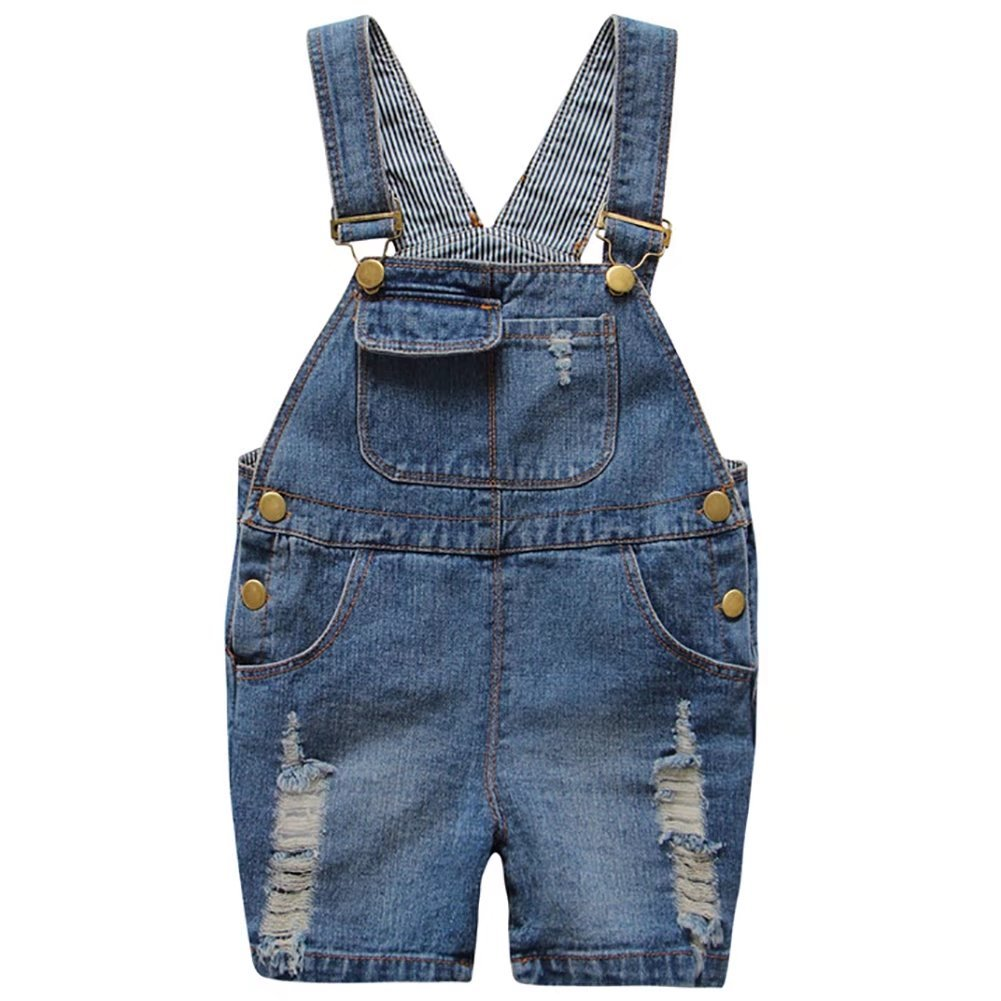 BiSHE Baby Kids'Denim Stretch Shorts Jeans Bib Dungarees Outfits Trousers for Boys Girls 3-8 Years
