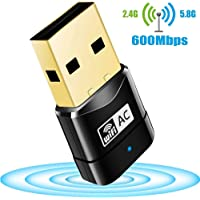 Wifi Adapter Flenco 600Mbps WiFi Dongle Mini Dual Band 2.4G/5G USB Wireless Network Adapter Support for Win 7/8/8.1/10/XP/Vista