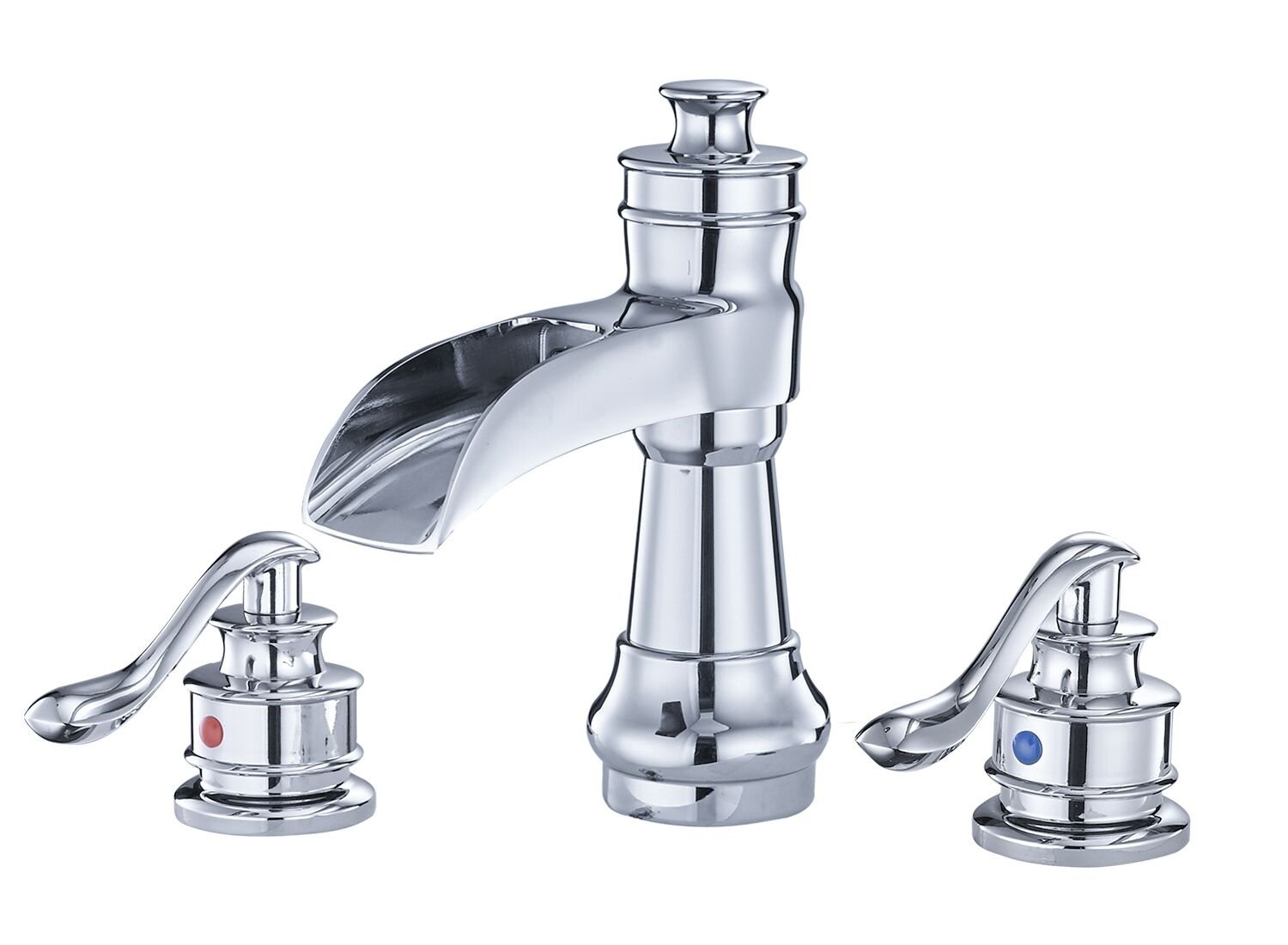 BWE Waterfall 8-16 Inch 3 Holes Two Handle Widespread Bathroom Sink Faucet Chrome