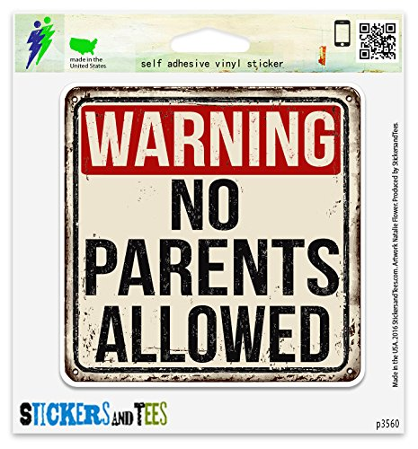Warning Large Mug (Warning No Parents Allowed Vinyl Car Bumper Window Sticker 10