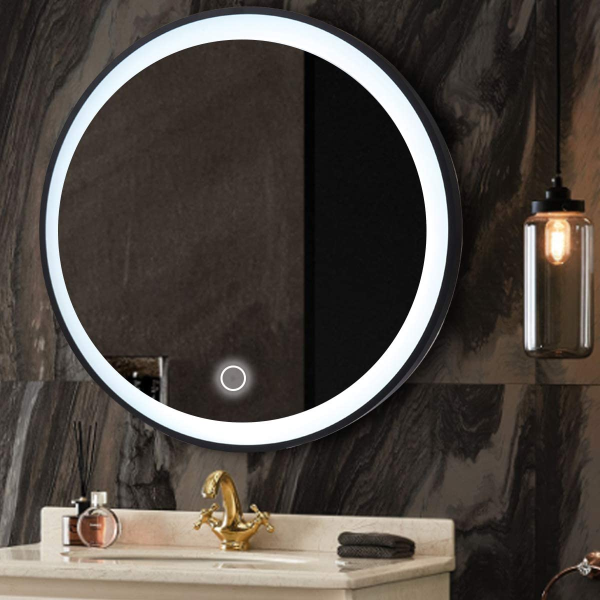 OTTARO 24 Inch Circle Wall Mirror with Light, Round Led Vanity Mirror Black Metal Frame for Entryways, Washrooms, Living Room and More