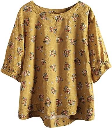 Camiseta de Mujer Verano Tallas Grandes Algodón y Lino Moda ...