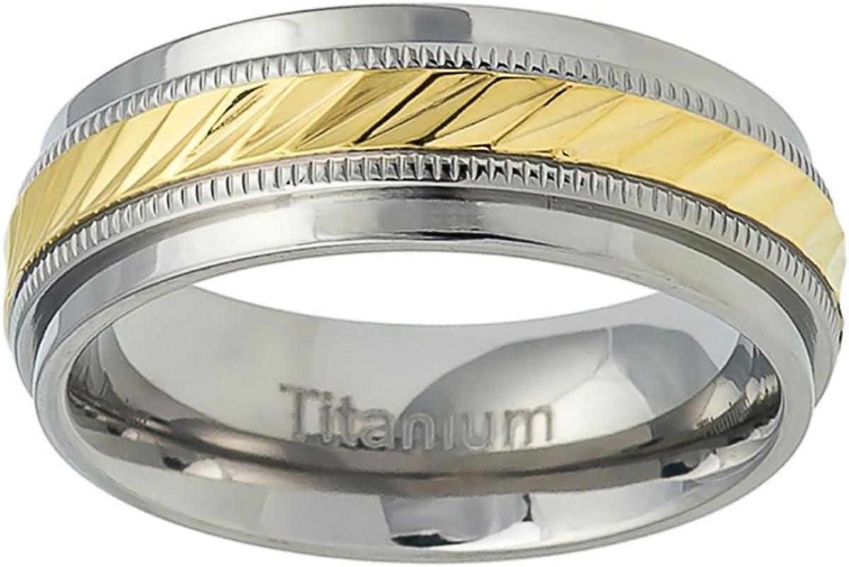 Prime Pristine Titanium Wedding Band Ring 7.5mm Gold Tone Notched Center Milgrain Ring