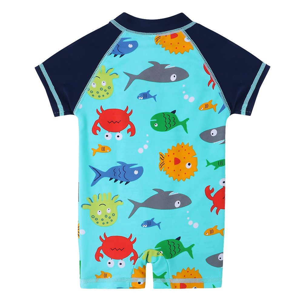 HUANQIUE Baby Toddler Boy Swimsuit Rash Guard Swimwear One Piece