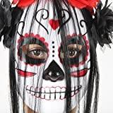 Halloween Skull Ghost Mask With Hair Costume Party Props Masks Scary Creepy Face & Grin Women Decorations