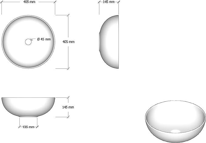 STARBATH PLUS Lavabo Cer/ámica Sobre Encimera Redondo Blanco BOL 32 x 32 x 15 cm