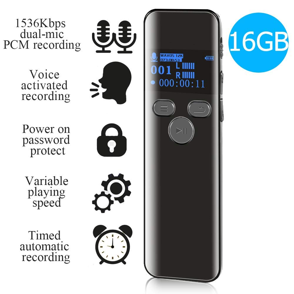 16GB Digital Voice Activated Recorder for Lectures - 2019 Aiworth 1160 Hours Sound Audio Recorder Dictaphone Voice Activated Recorder Recording Device with Playback,MP3 Player,Password,Variable Speed