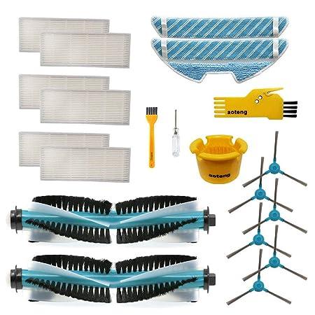 Accesorios para Cecotec Conga 1390 1290 Robot Aspirador Repuestos Paquete de 2 cepillos Principales, 6 filtros Hepa, 6 cepillos Laterales, 2 Trapos de ...