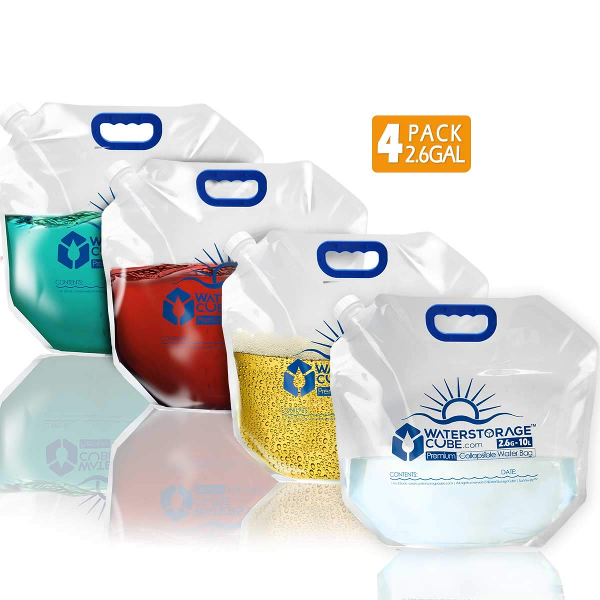 WaterStorageCube Premium Collapsible Water Container Bag, BPA Free Food Grade Clear Plastic Storage Jug for Camping Hiking Backpack Emergency, No-Leak Freezable Foldable Water Bottle 1.3/2.6 Gallon